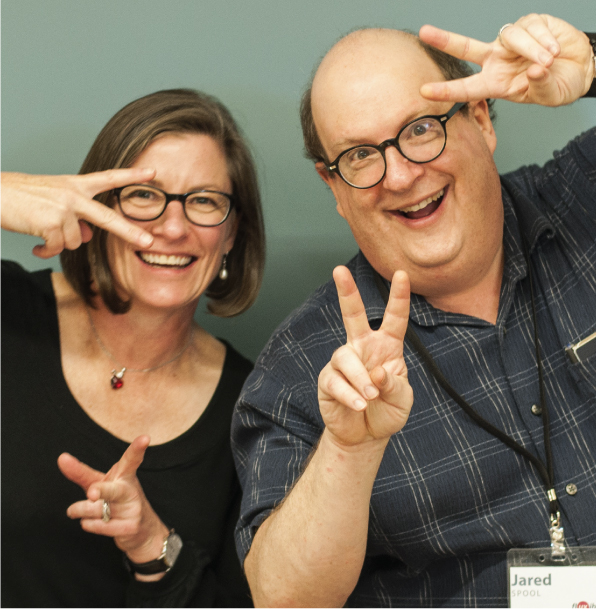 headshot of Dana Chisnell & Jared Spool